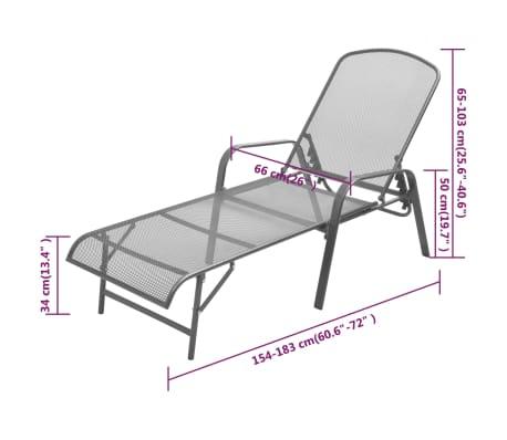 vidaXL Sonnenliege Stahlgewebe Verstellbar[8/8]