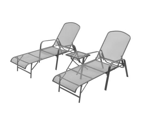 vidaXL Solsenger 2 stk med bord stål antrasitt[1/13]
