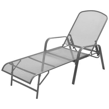 vidaXL Solsenger 2 stk med bord stål antrasitt[3/13]