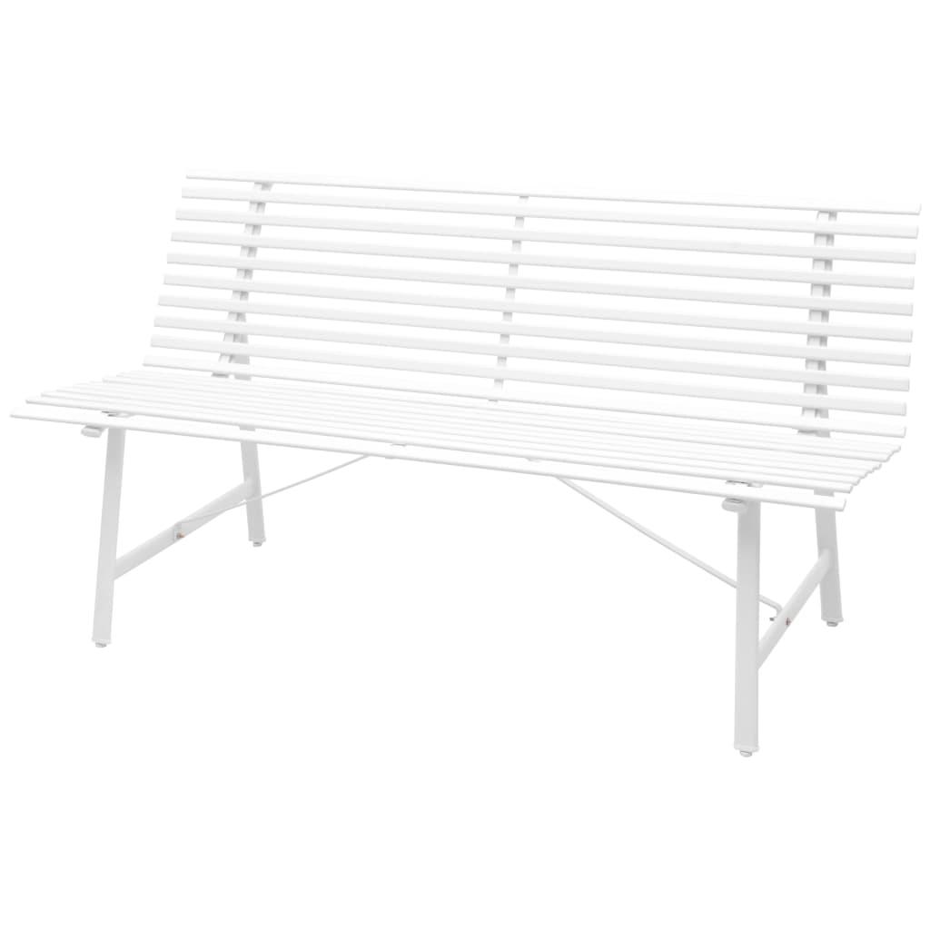 vidaXL Παγκάκι Κήπου Λευκό 150 x 62 x 80 εκ. από Χάλυβα