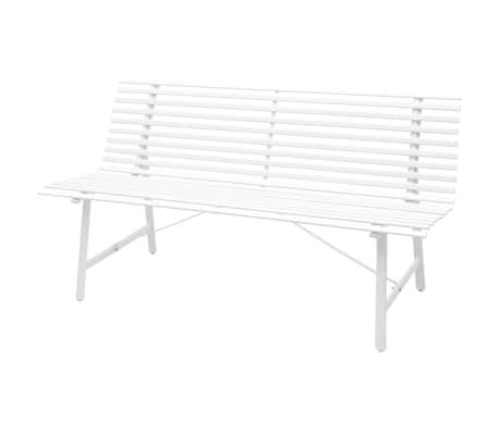 vidaxl banc de jardin acier 150 x 62 x 80 cm blanc. Black Bedroom Furniture Sets. Home Design Ideas