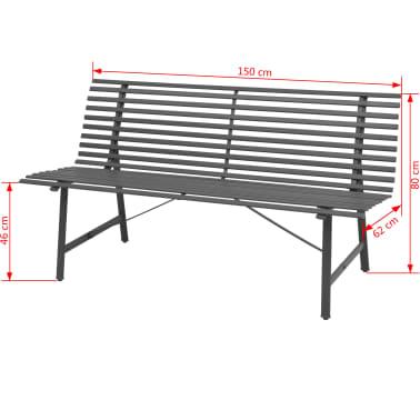 vidaXL Gartenbank Stahl 150 × 62 × 80 cm Anthrazit[5/5]
