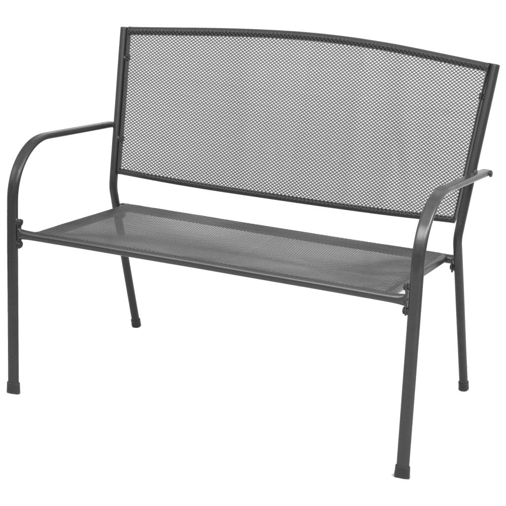 vidaXL Zahradní lavice s područkami, ocelové pletivo, 108x60x88 cm