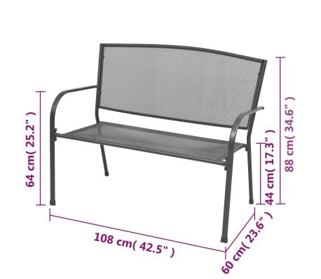 vidaXL Gartenbank 108 cm Stahl und Gitter Anthrazit[6/6]