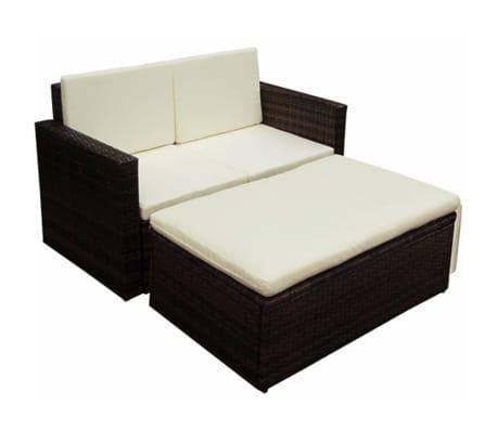 vidaxl set divano e poggiapiedi da giardino 7 pz in polirattan marrone. Black Bedroom Furniture Sets. Home Design Ideas