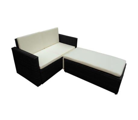 vidaXL 2-tlg. Garten-Lounge-Set mit Auflagen Poly Rattan Schwarz[3/7]