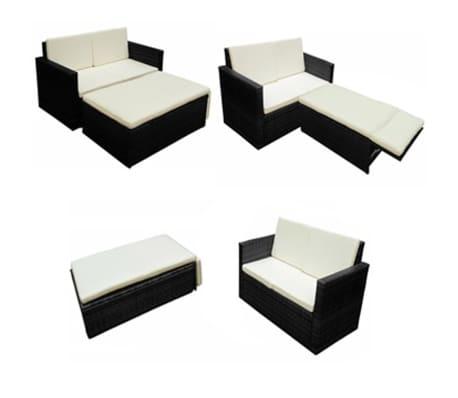 vidaXL 2-tlg. Garten-Lounge-Set mit Auflagen Poly Rattan Schwarz[4/7]