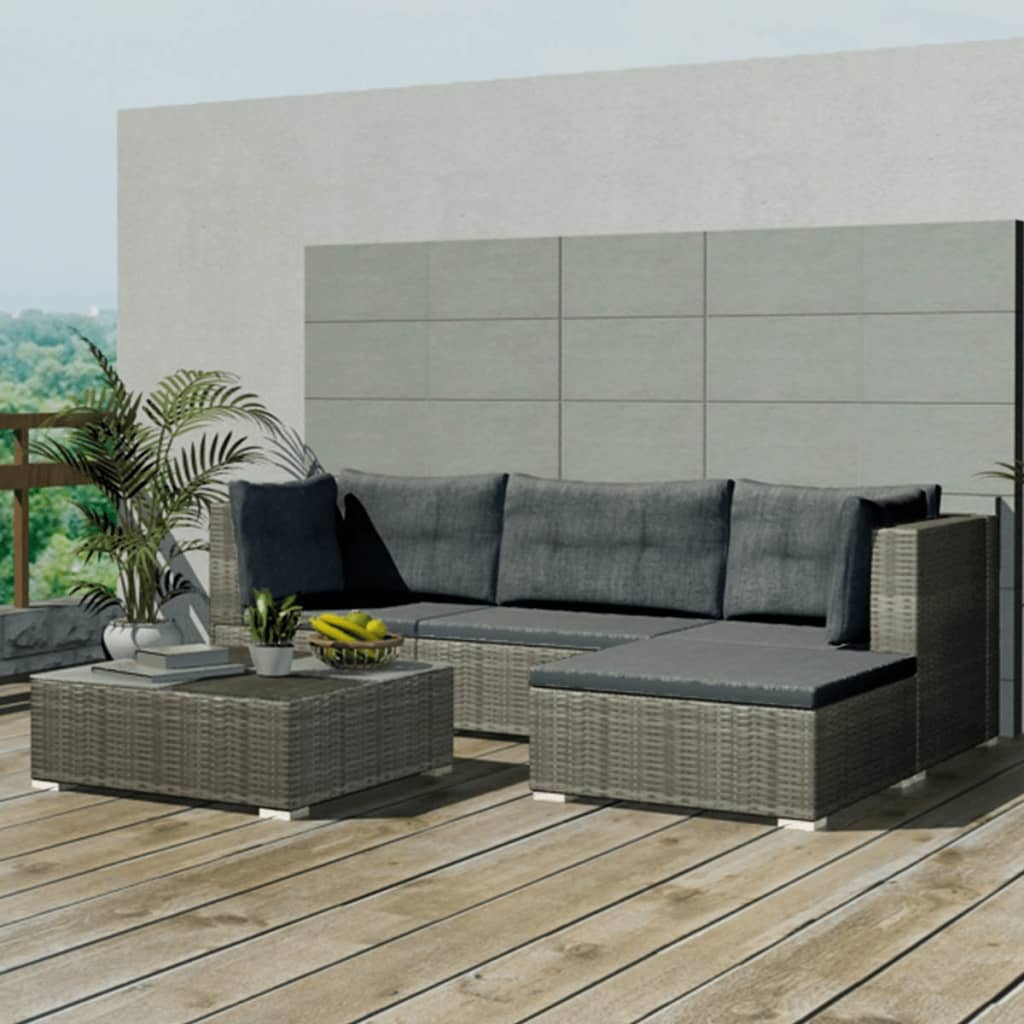 vidaXL Garden Lounge Set 14 Pieces Poly Rattan Grey