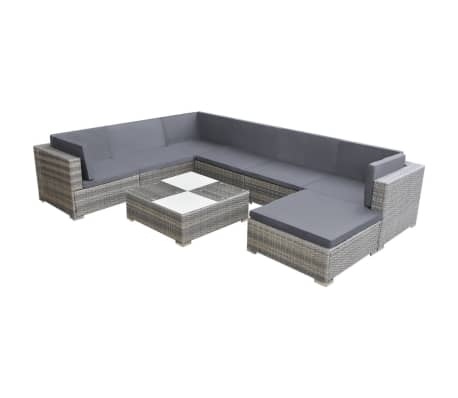 vidaXL 8 Piece Garden Lounge Set with Cushions Poly Rattan Grey