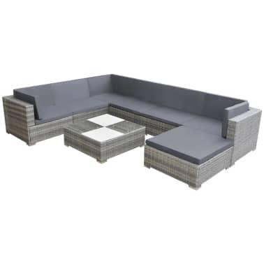 vidaXL Loungegrupp för trädgården med dynor 8 delar konstrotting grå[1/5]