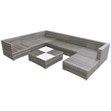 vidaXL Loungegrupp för trädgården med dynor 8 delar konstrotting grå[2/5]