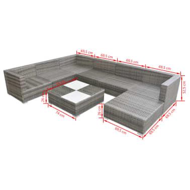 vidaXL Loungegrupp för trädgården med dynor 8 delar konstrotting grå[5/5]