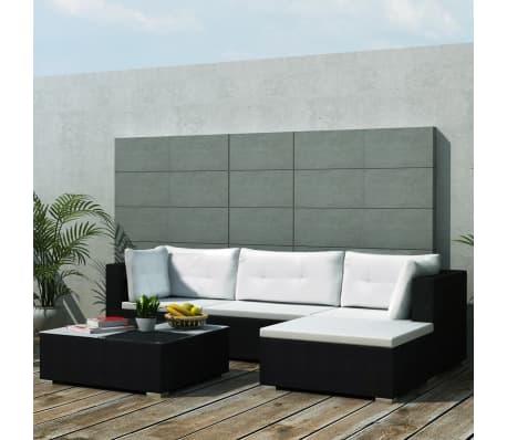 vidaXL 5 Piece Garden Lounge Set with Cushions Poly Rattan Black[2/11]