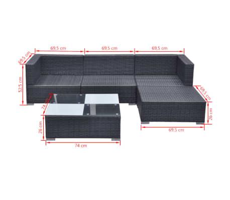 vidaXL 5 Piece Garden Lounge Set with Cushions Poly Rattan Black[11/11]