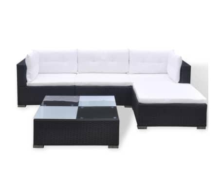vidaXL 5 Piece Garden Lounge Set with Cushions Poly Rattan Black[4/11]