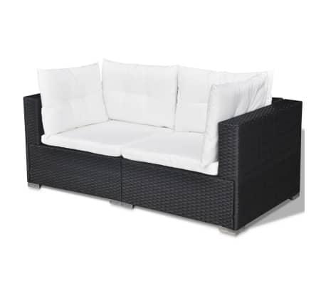 vidaXL 5 Piece Garden Lounge Set with Cushions Poly Rattan Black[7/11]
