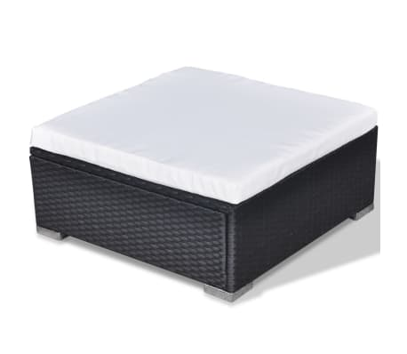 vidaXL 5 Piece Garden Lounge Set with Cushions Poly Rattan Black[9/11]