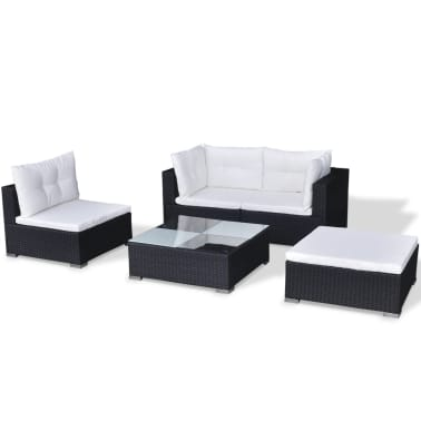 vidaXL 5 Piece Garden Lounge Set with Cushions Poly Rattan Black[3/11]