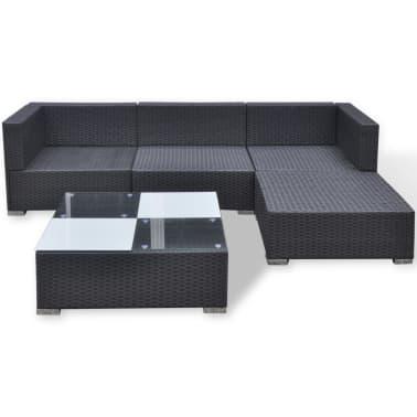 vidaXL 5 Piece Garden Lounge Set with Cushions Poly Rattan Black[5/11]