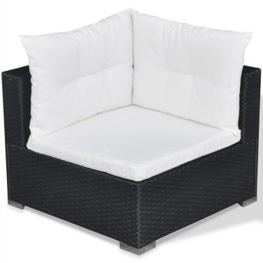 vidaXL 5 Piece Garden Lounge Set with Cushions Poly Rattan Black[6/11]