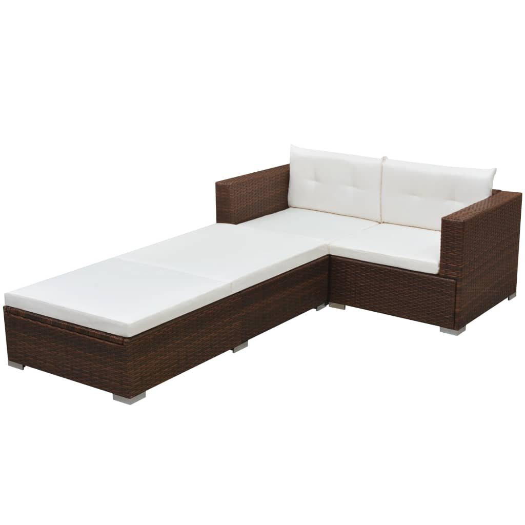 vidaXL 3-cz. zestaw wypoczynkowy do ogrodu, poduszki, rattan PE, brąz