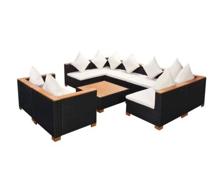 vidaXL 9 pcs conjunto lounge de jardim c/ almofadões vime PE preto