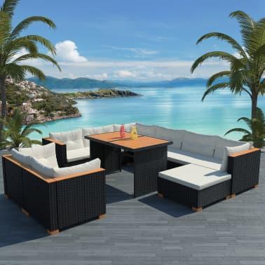 Vidaxl set divani da giardino 32 pz in polirattan e wpc for Set divani da giardino