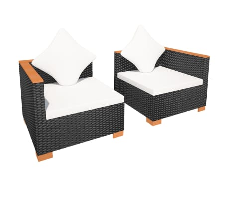vidaxl gartensofa garnitur 6 tlg poly rattan wpc schwarz g nstig kaufen. Black Bedroom Furniture Sets. Home Design Ideas