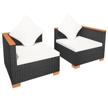 acheter vidaxl jeu de canap de jardin 6 pcs r sine tress e dessus en wpc noir pas cher. Black Bedroom Furniture Sets. Home Design Ideas