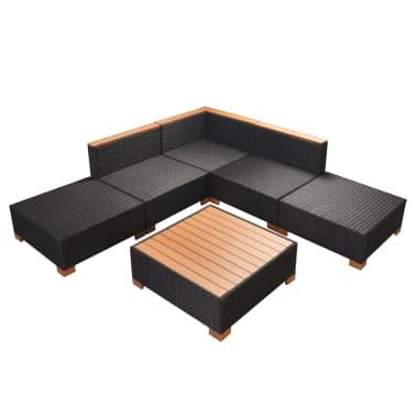 Vidaxl divani da giardino set 15 pz in polirattan e wpc for Set divani da giardino