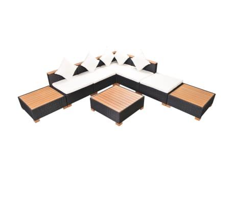 vidaXL Muebles de jardín y cojines 8 piezas ratán sintético negro