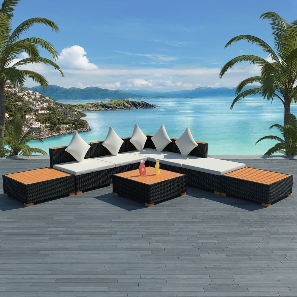 vidaXL Garden Lounge Set 18 Pieces Poly Rattan WPC Top Black