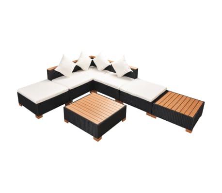 vidaXL 7-részes fekete polyrattan kerti bútorszett párnákkal