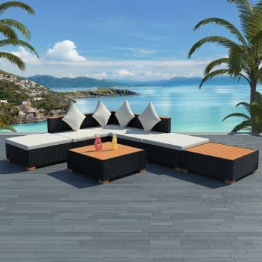 Vidaxl Garden Lounge Set 16 Pieces Poly Rattan Wpc Top Black