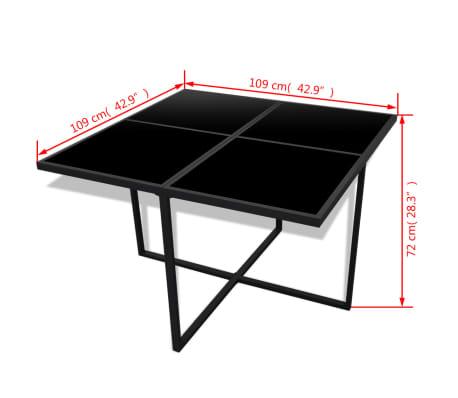 vidaXL 9-daļīgs dārza mēbeļu komplekts ar matračiem, PE pinums, melns[6/8]