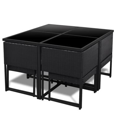 vidaXL 9-daļīgs dārza mēbeļu komplekts ar matračiem, PE pinums, melns[3/8]