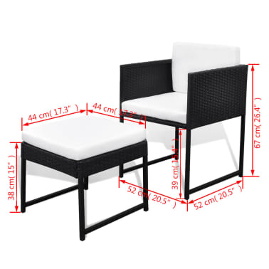 vidaXL 13-daļīgs dārza mēbeļu komplekts ar matračiem, PE pinums, melns[8/8]