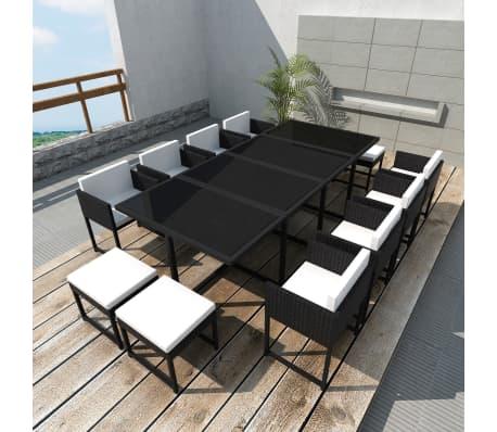 vidaXL 13-daļīgs dārza mēbeļu komplekts ar matračiem, PE pinums, melns[1/8]