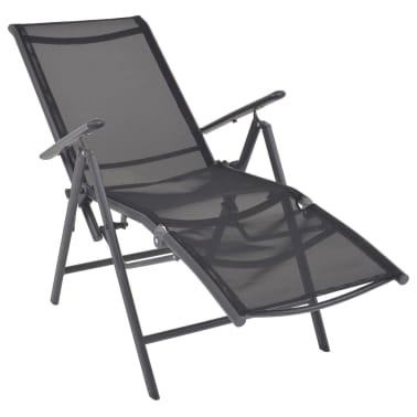 vidaXL Liegestuhl Textilene Schwarz 58,5 × 69 × 110 cm[2/9]