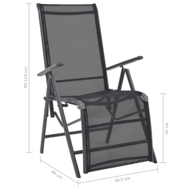vidaXL Liegestuhl Textilene Schwarz 58,5 × 69 × 110 cm[9/9]