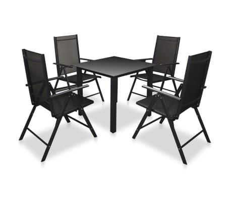 Plegables Con Comedor 5 Set Negro Jardín Piezas Vidaxl Sillas Aluminio QtsrChd