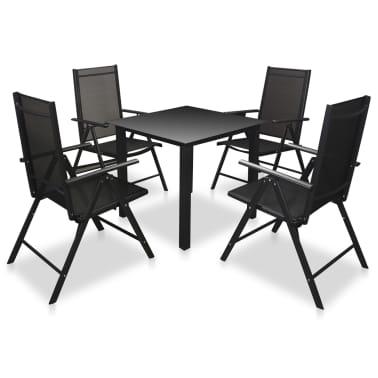 vidaXL Mobilier à dîner de jardin 5 pcs et chaises pliables Aluminium[1/7]
