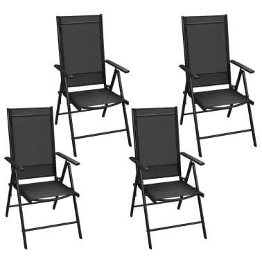 vidaXL Mobilier à dîner de jardin 5 pcs et chaises pliables Aluminium[3/7]