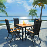 vidaXL 5 Piece Outdoor Dining Set with Folding Chairs Aluminium Black