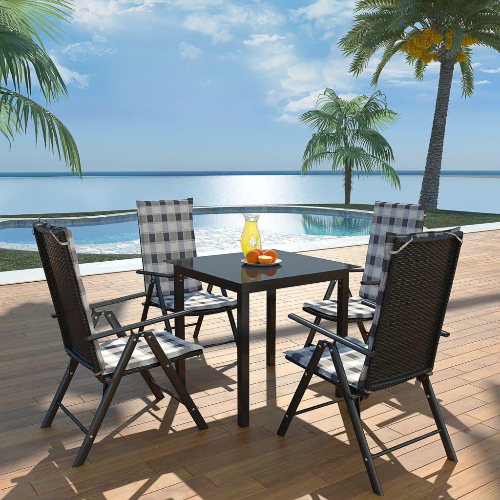 vidaXL Zahradní nábytek jídelní set 9 ks s polstry hliník a polyratan
