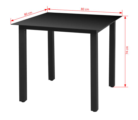 vidaxl garten esstisch glas aluminium 80 x 80 x 74 cm schwarz g nstig kaufen. Black Bedroom Furniture Sets. Home Design Ideas