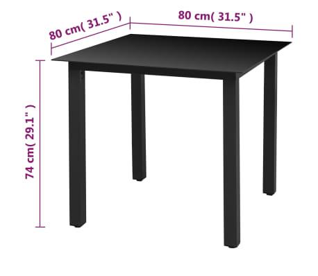 "vidaXL Garden Table Black 31.5""x31.5""x29.1"" Aluminium and Glass[3/3]"