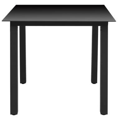 "vidaXL Garden Table Black 31.5""x31.5""x29.1"" Aluminium and Glass[2/3]"