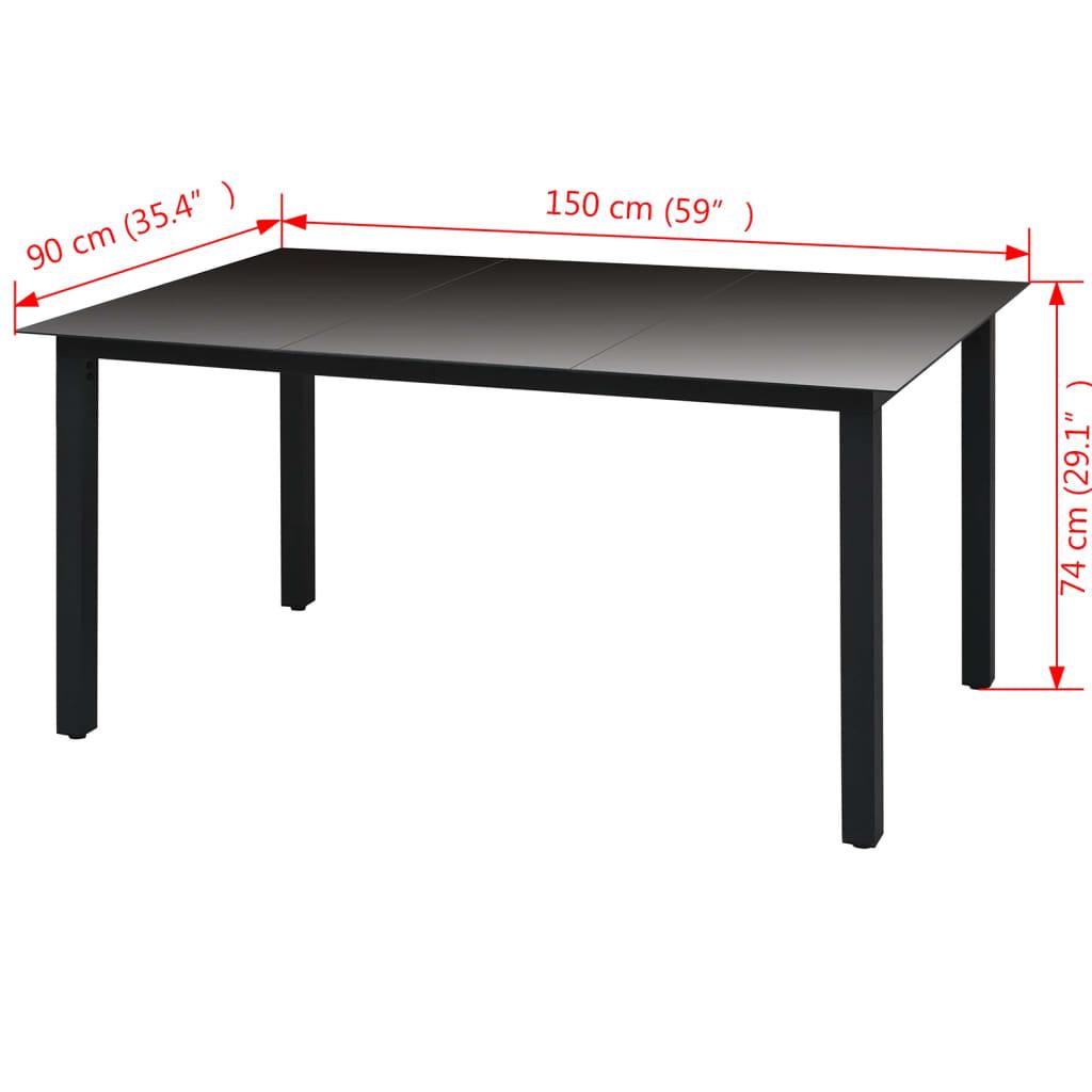 VIDAXL TABLE À Manger Verre Aluminium Noir 150x90x74 cm Table de Jardin  Patio