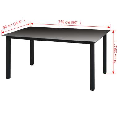 vidaXL Mesa de jantar p/ jardim vidro e alumínio 150x90x74 cm preto[3/3]